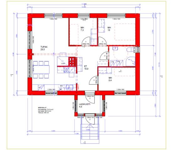 74 m2, pohja